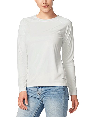 (Baleaf Women's UPF 50+ Sun Protection T-Shirt Long Sleeve Outdoor Performance White Size M)