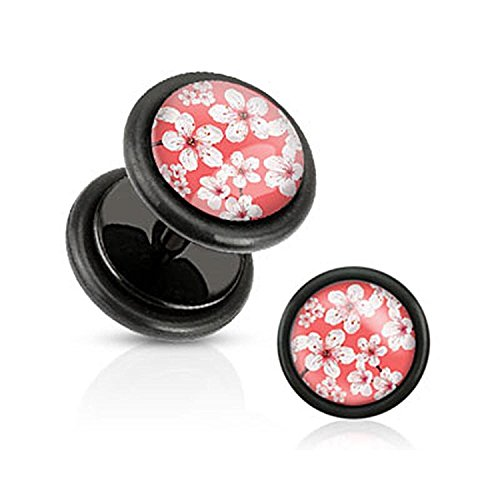 16G Pink Inlay w/ Cherry Blossoms Black Acrylic Fake Plugs with O-Rings - Sold as a Pair!