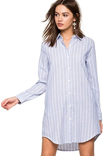 Long Sleeve Pocket Side Button Front Curved Hem Striped Stripe Shift Straight Shirt Mini Dress Blue White