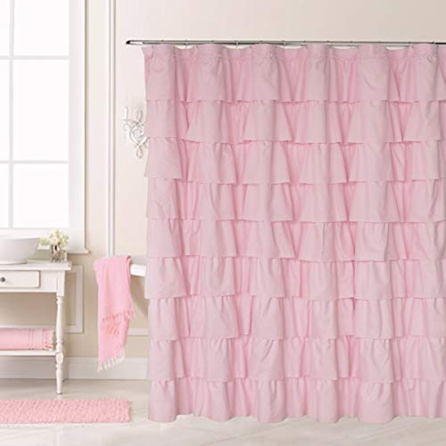 Ameritex Ruffle Shower Curtain Home Decor | Soft Polyester, Decorative Bathroom Accessories | Great for Showers & Bathtubs |Large Size,72 x 72