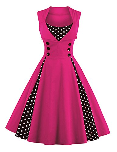 Retro Costumes (breakfast at tiffany's costume Boatneck Sleeveless Vintage Tea with Button HOTPINK)