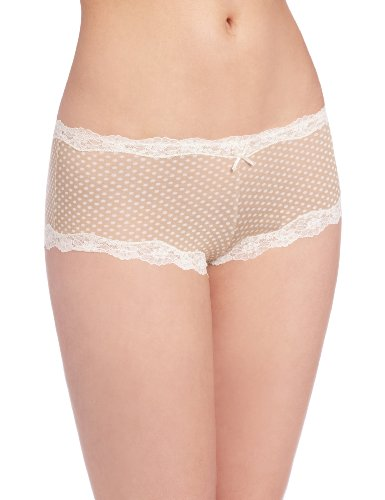 Maidenform Women's Modal Cheeky Hipster With Lace Panty, Darling Dot Beige/Ivory, 7