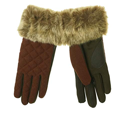 - Isotoner Signature Women's Stretch and Faux-Fur Gloves Brown Small/Medium