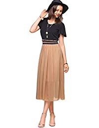 Amoretu Summer Classic Casual Short Sleeves Midi Dress...
