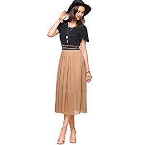 Amoretu Women Summer Classic Casual Short Sleeves Midi Dress