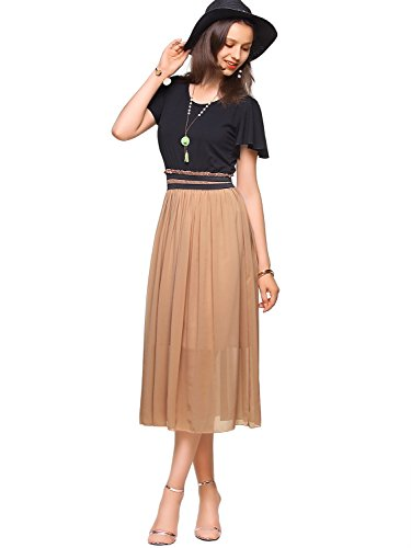 Amoretu Empire Waist Summer Dress Tea Length Dresses Midi with Short Sleeves