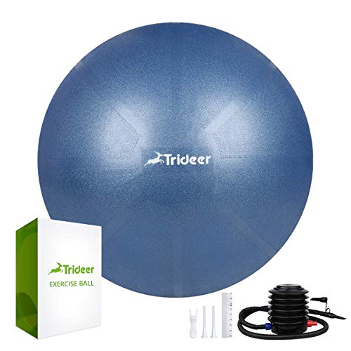 (Trideer Exercise Ball (45-85cm) Extra Thick Yoga Ball Chair, Anti-Burst Heavy Duty Stability Ball Supports 2200lbs, Birthing Ball with Quick Pump (Office & Home & Gym) )