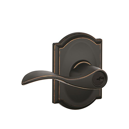 (Schlage Accent Lever with Camelot Trim Keyed Entry Lock in Aged Bronze - F51A ACC 716 CAM)