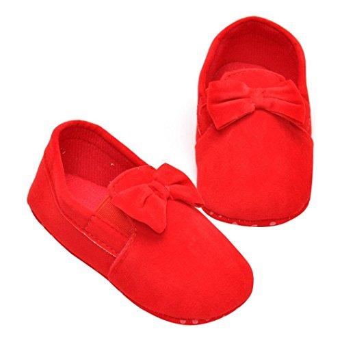 Hunpta Babyschuhe Mädchen Jungen Lauflernschuhe Neugeborenes Baby Kinder Gummiband Prewalker Bowknot Kleinkind weiche Sohle Schuhe (11, Schwarz) Rot