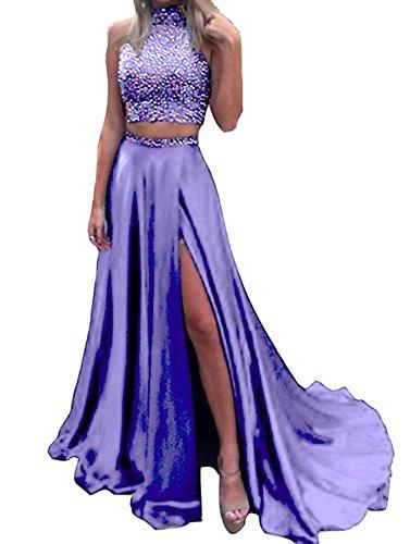 Neck Dresses With Two Piece Lavender Split Satin BD429 High BessDress Beaded 2018 Bodice Prom x8aqRgwqB