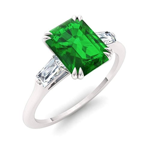 6 Diamond Baguette Stone Ring - Diamondere Natural and Certified Emerald and Diamond Baguette Engagement Ring in 14K White Gold | 0.84 Carat SI1-SI2 Quality Three Stone Ring for Women, US Size 6