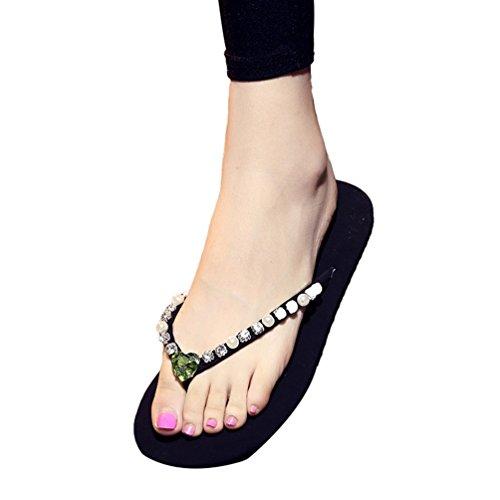 YOUJIA Mujer / Chicas Verano Zapatos de playa Casual Chanclas Zapatillas Adornado #3 Verde