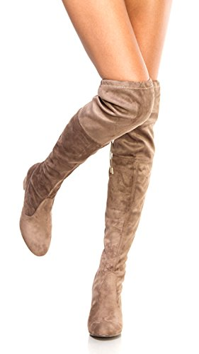 OLIVIA K Womens Thigh High Boots Over The Knee Party Stretch Block Mid Heel Size, Taupe Suede, 9 B(M) (Western Wedding Boots)