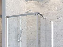 Olimpo - Mampara de Ducha Angular H195 con 2 Puertas correderas de Cristal Transparente 6 mm Adry, 75 x 80: Amazon.es: Hogar