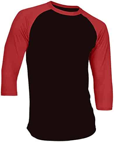 1c4d9a02027e DS Men's Plain Raglan Shirt 3/4 Sleeve Athletic Baseball Jersey S-3XL (