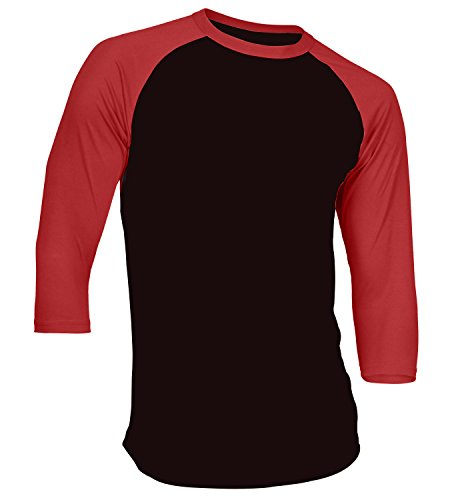 (Men's Plain Athletic 3/4 Sleeve Baseball Sports T-Shirt Raglan Shirt S-XL Team Jersey Black Red L)