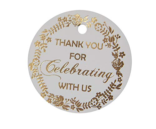 Thank You Tags Gold Foil, 30-Pack, Wedding Tags, Paper Tags, Circle Tags. Thank You for Celebrating with Us for Baby, 16 Birthday or Wedding Decor.(Golden1)