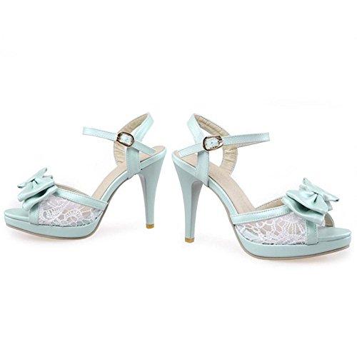 Femmes Chaussures Haut Sandales Talon à Cheville de TAOFFEN Toe Peep Bleu Sangle pnqHqU