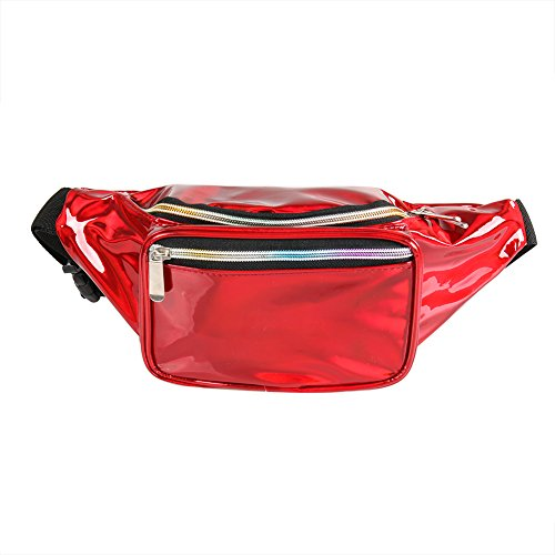 - Holographic Fanny Pack for Women - Waist Fanny Pack with Adjustable Belt for Rave, Festival, Travel, Party (Red)