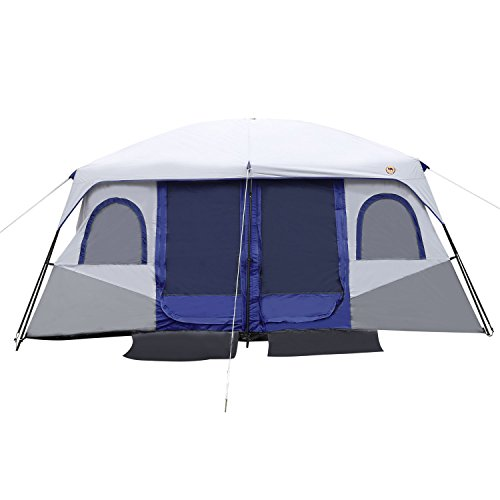 Outdoor Camping Hiking Tent Dual Layer Waterproof 2-Bedroom & 8-10 Person (Blue)