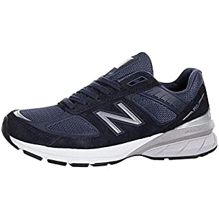 New Balance Men's Made 990 V5 Sneaker, Navy/Silver, 9.5 W US