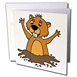 "3dRose Greeting Card Cute Funny Groundhog in Hole Cartoon, 6 x 6"" (gc_263692_5)"