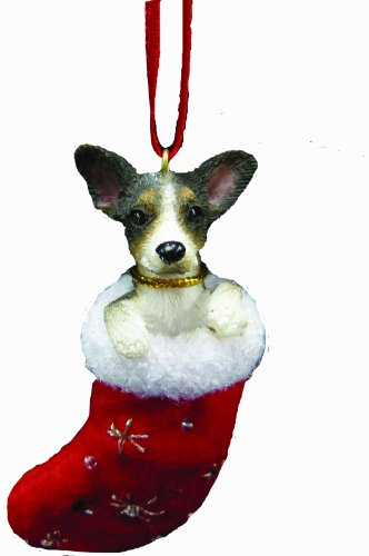 "Rat Terrier Christmas Stocking Ornament with ""Santa's Little Pals"" Hand Painted and Stitched Detail"