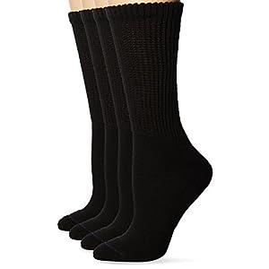 Dr. Scholl's Women's Diabetes and Compression Crew 4 Pair Socks, Black, Shoe: 8-12