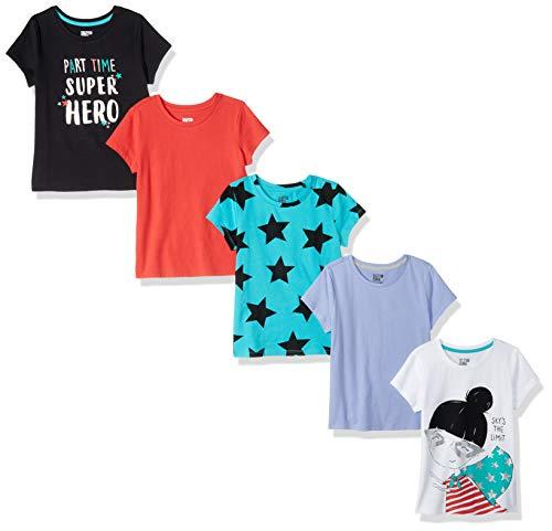 Spotted Zebra Toddler Girls' 5-Pack Short-Sleeve T-Shirts, Super Girl, 2T -