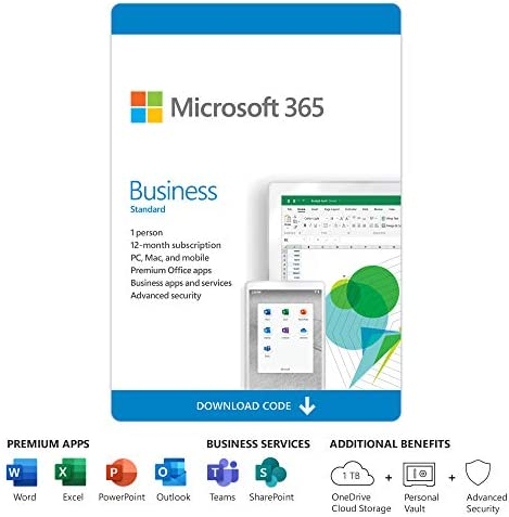 Microsoft 365 Business Standard | 12-Month Subscription, 1 person | Premium Office apps | 1TB OneDrive cloud storage | PC/Mac Download