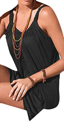 Beach Women Mini Strappy Dress Black Domple Sleeveless Short Summer Relaxed A4wX6