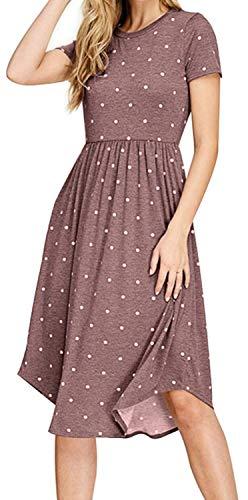 YUNDAI Women Summer Short Sleeve Pleated Polka Dot Pocket Loose Swing Casual Midi Dress (Size 2XL, Coffee)