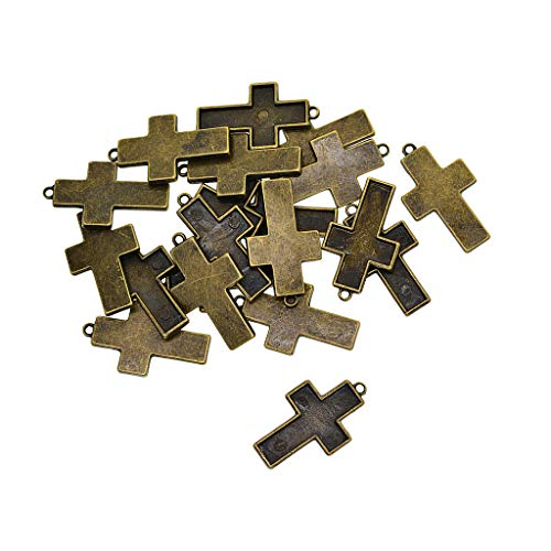 Fityle 20x Antique Bronze Cross Pendants DIY Cabochon Blank Bezel Base Tray 37x21mm
