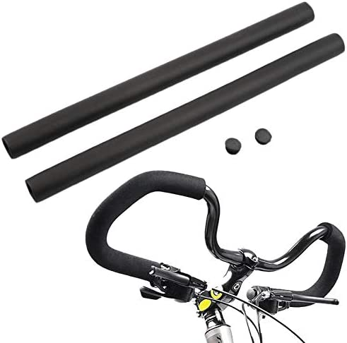 ouying1418 2pcs Black MTB Bike Bicycle Handlebar Grip Smooth Sponge Foam Tube Cover