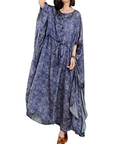Silk Flutter Sleeve Dress - YESNO JO4 Women Long Loose Printed Dress 100% Silk Bohemia Plus Size Kimono Sleeve Drawstring Waist Flutter Sides