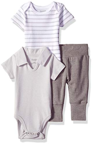 Hanes Ultimate Baby Flexy Knit Jogger with Polo Bodysuit and Short Sleeve Crew, Grey Stripe, 18-24 Months ()