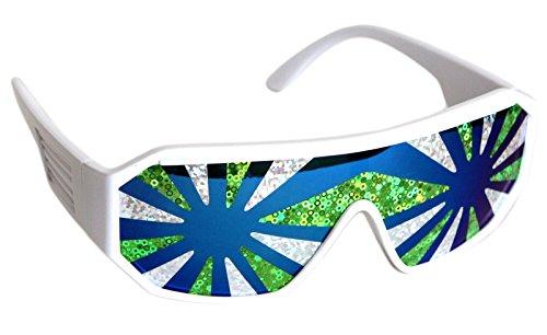 Rasslor Sea Spray White Frame Blue Lens Shield 140mm - Holographic Sunglasses Lenses