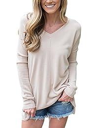 Women's Tunic Sweater Big V-Neck Pullover Loose Long Sleeve Side Split Sweater Dress Winter Tops