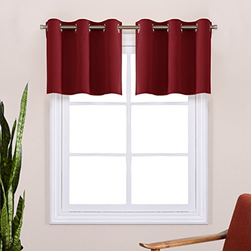 Blackout Valances Curtains for Small Window - Pair of Thermal Insulated Eyelet Top Plain Blackout Tier Curtains by NICETOWN (29 Width x 14