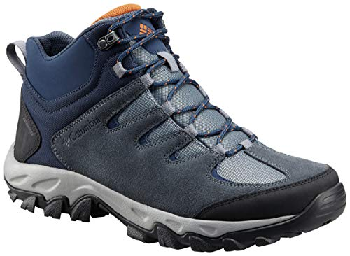 Columbia Men's Buxton Peak MID Waterproof Hiking Boot, Grey ash, Bright Copper, 8.5 Regular US (Boots Men Size 8 Snow)