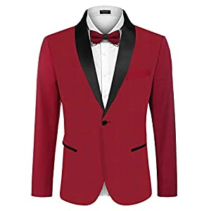 Best Epic Trends 41gCJyrReTL._SS300_ COOFANDY Men's Tuxedo Jacket Wedding Blazer One Button Dress Suit for Dinner,Prom,Party