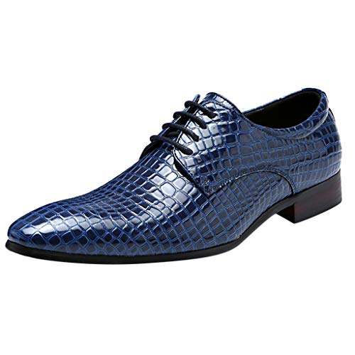 Respctful✿Men Formal Slip On Oxford Shoes Leather Lace Up Classic Comfortable Modern Wedding Shoes Blue ()