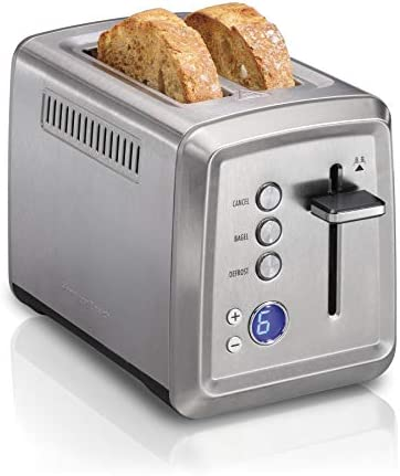 Hamilton Beach 22796 Toaster with Bagel & Defrost Settings, Toast Boost, Slide-Out Crumb Tray Extra Wide Slot, 2 Slice, Stainless Steel