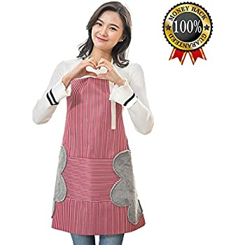 Apron for Women, Waterproof Adjustable Bib Cooking Aprons with Pocket-2 Side Coral Velvet Towels Stitched Durable Pinstripe Aprons for Dishwashing, Baking, Grill, Restaurant Even Garden Craft Red