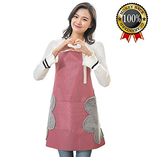 (Apron for Women, Waterproof Adjustable Bib Cooking Aprons with Pocket-2 Side Coral Velvet Towels Stitched Durable Pinstripe Aprons for Dishwashing, Baking, Grill, Restaurant Even Garden Craft Red)