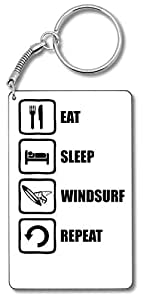 Eat Sleep Windsurf Repeat Black Graphic Llavero Llavero