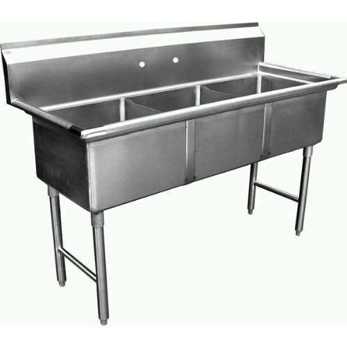 Allstrong ALLST-SH24243N 3 Compartment Sink, 24'' x 24''x 14''/Large/One Size, Stainless Steel/Silver
