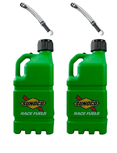 2-pack-sunoco-5-gallon-green-race-utility-jugs-and-2-deluxe-filler-hoses