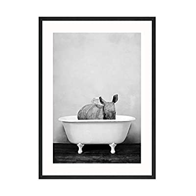 DNJKSA Baby Animal in Bathtub Toilet Poster Panda Giraffe Elephant Lion Canvas Painting Nursery Wall Art Nordic Picture Kid Room Decor/30x40cmx6Pcs-No Frame: Home & Kitchen