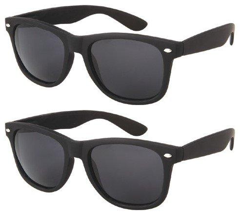 2 Pair Retro Korean Fashion Style Women Men Outdoor Sport Sexy Wayfarer Sunglasses (2 Matte Black Wayfarer, - Korean Sunglasses